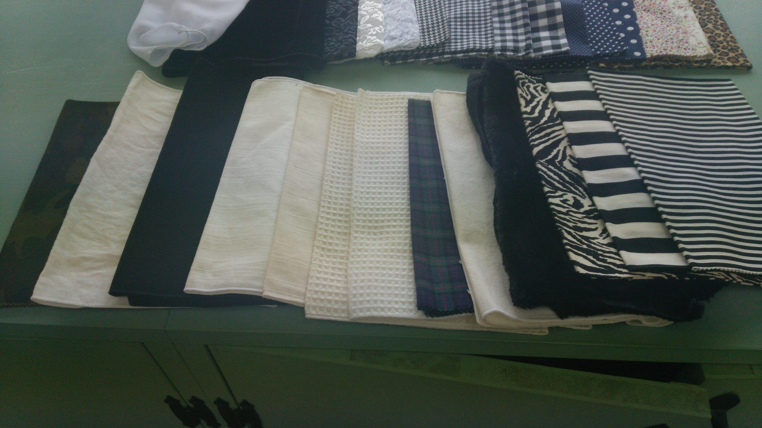 骨格診断で使われた様々な素材と柄の布