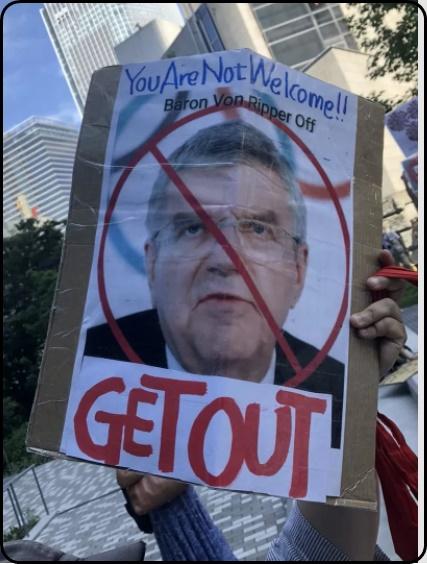 バッハ会長への抗議デモの様子の画像